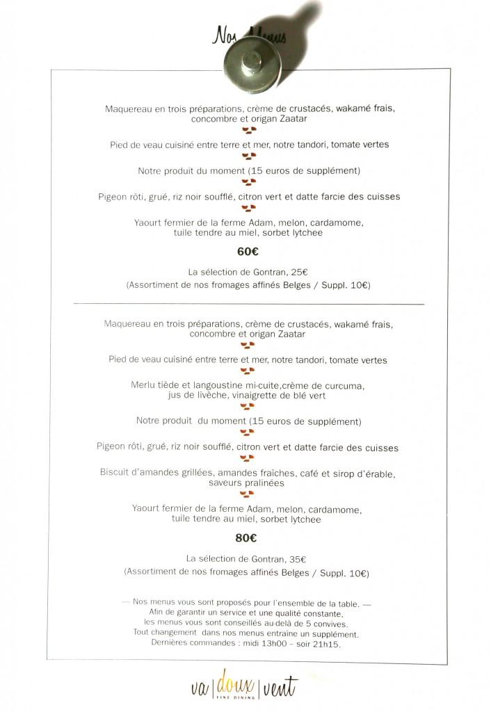 formules des menus