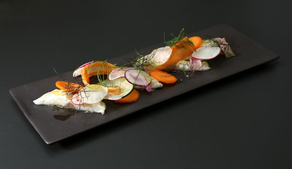 Ceviche de daurade, légumes croquants