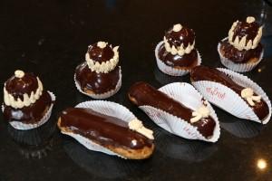 Chouquettes, éclairs et religieuses au chocolat