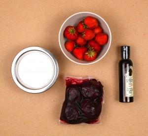 Ingrédients du coulis betterave et fraise