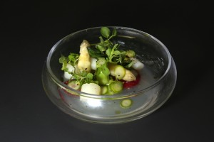 Asperges vertes, blanches et fraises de Florent Ladeyn finaliste Top Chef 2013