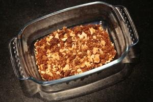 mélangez amandes effilées grillées et crumble