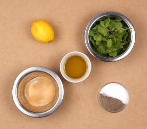 Ingrédients vinaigrette à la menthe
