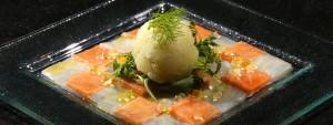 Carpaccio saumon et cabillaud, perles de yuzu et sorbet fenouil