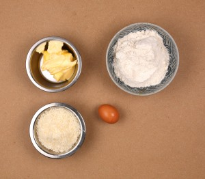 Ingrédients pâte sablée au parmesan