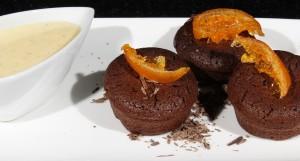 Petits bouchons choco noisette et crème anglaise à la mandarine confite