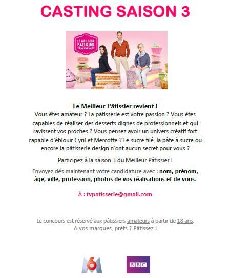 Casting Le Meilleur Pâtissier Saison 3