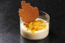 Crème onctueuse menthe chocolat blanc et sa fraicheur de mangue