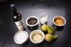 Ingrédients de la poire au chocolat