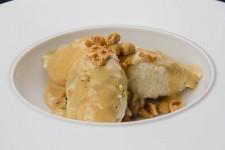 Quenelles de volaille au foie gras, poêlée de fruits d'hivert