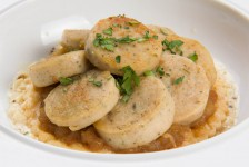 Tartelette de boudin blanc, chutney de pomme au gingembre, sauce champagne de Philippe Etchebest