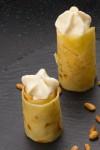 Crêpes , crème Délice au miel et pignons