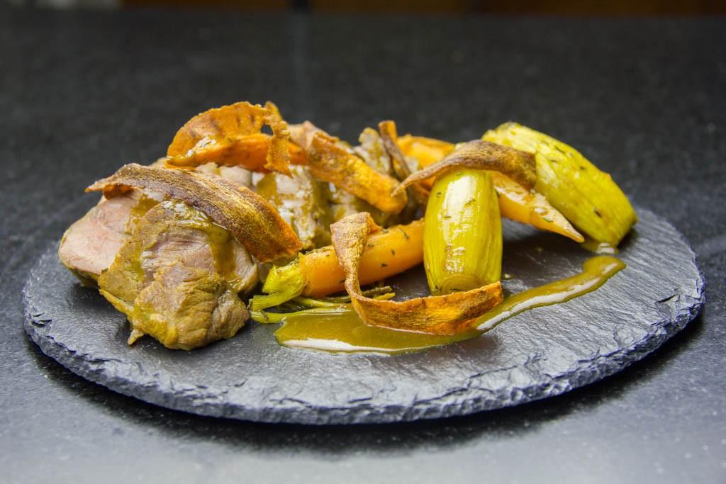 Joue de porc au cumin et ses légumes confits (sous vide basse température)