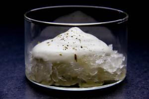 Crème de gorgonzola, granité au champagne