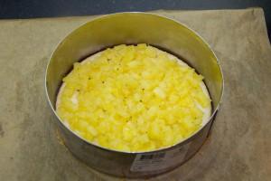 Déposez les dés d'ananas régulièrement sur le sablé