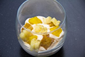 On recommence: dés de fruits et croutons