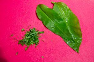 Ciselez finement les feuilles d'ail des ours