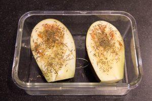 Enfournez l'aubergine à 180° pendant une heure