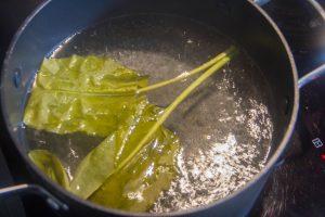 Plongez les feuilles d'oseille dans l'eau bouillante très rapidement