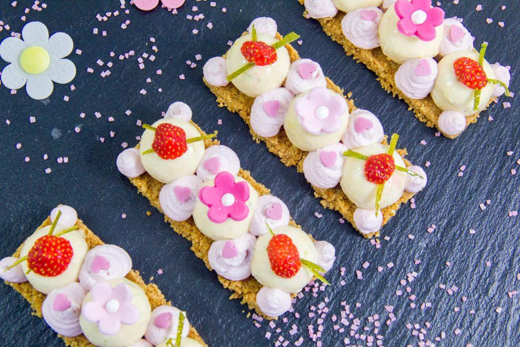 Mon Cheesecake revisité façon girly, fraise et citron vert
