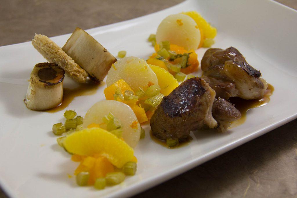 Jarret de veau basse température, potiron et navet fruités