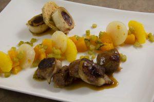 Jarret de veau basse température, potiron et navets fruités
