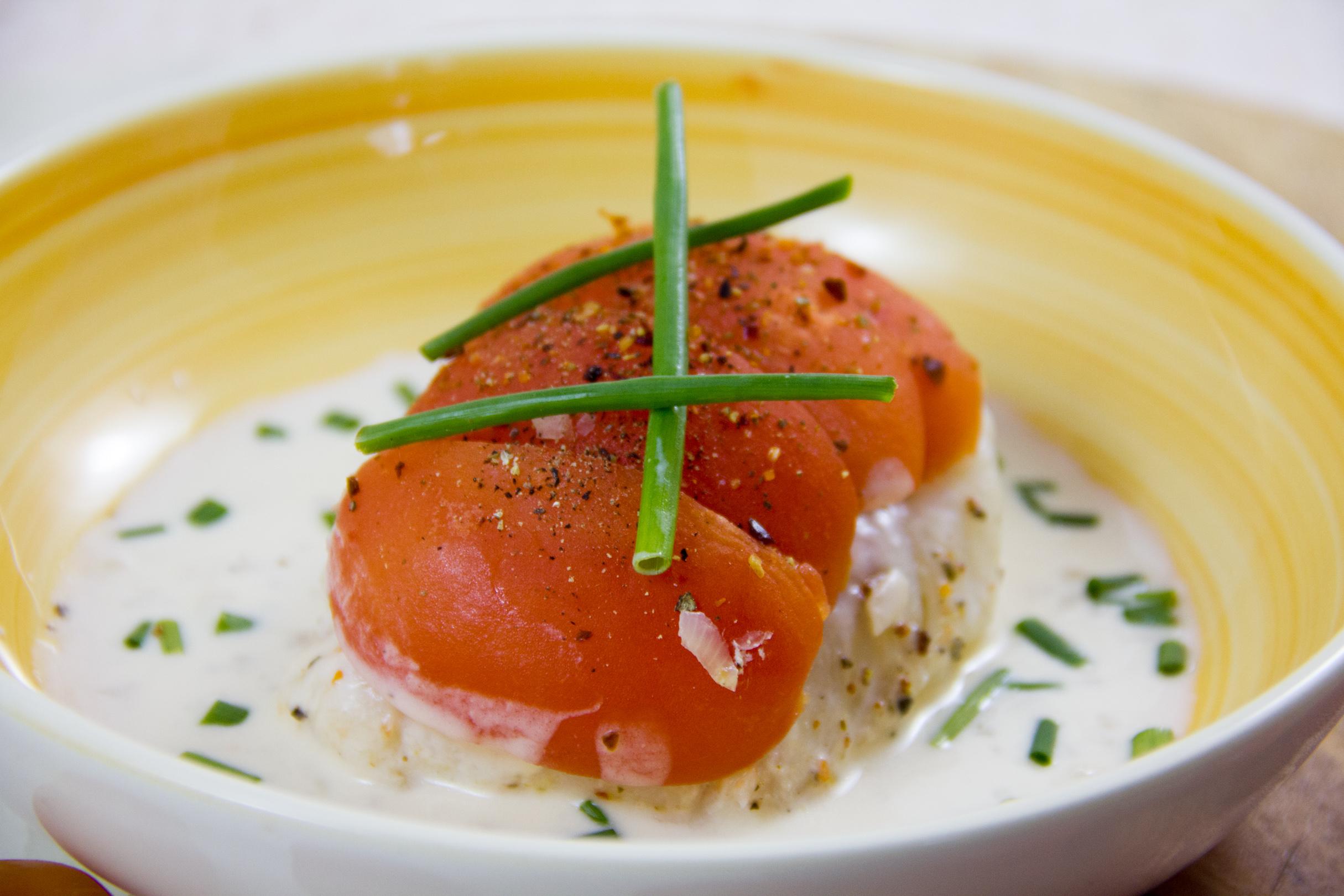 Dos de Skrei aux tomates, sauce crémeuse à l'échalote