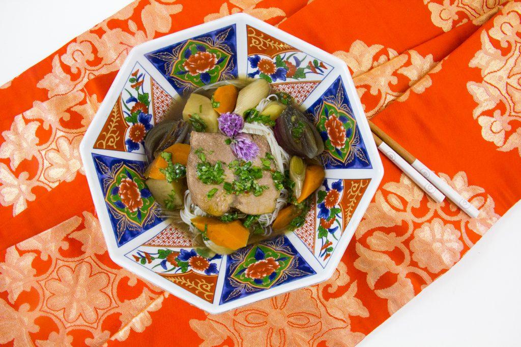 Pot au feu aux arômes thaïlandais, basse température au four (d'après une recette de