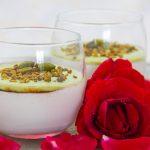 Mouhalabieh, crème de lait à la fleur d'oranger, saveur rose et pistache