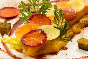 Délice tout carotte, coulis de betterave à l'orange (recette basse température)
