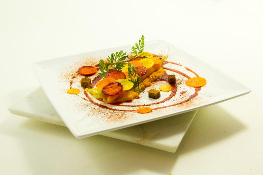 Délice tout carotte, coulis de betterave à l'orange