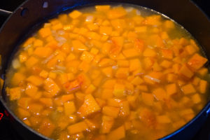 Versez les dés de butternut dans une sauteuse avec le fond de volaille et cuisez-le tout à feu doux