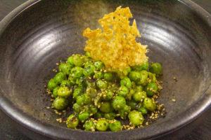 Salade petits pois, édamamés, vinaigrette à la coriandre
