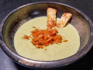 Soupe crémeuse courgette et chèvre, carotte au vadouvan (recette Thermomix)