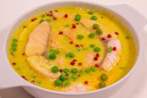 Saumon poché, petits pois (Recette menu Thermomix)